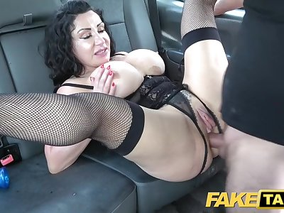 Fake Taxi Huge meaty pussy lips string up over and grip big drivers dick