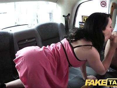 Fake Taxi Soaking wet creampie for super-hot brunette on first date in taxi cab