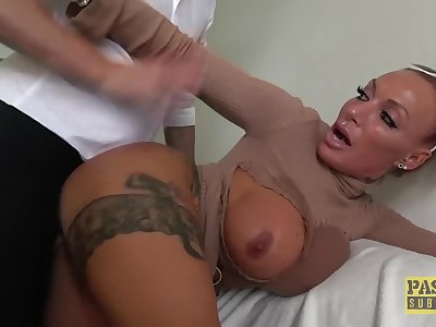 Lascivious subslut Brooke Jameson dominated and fed cum