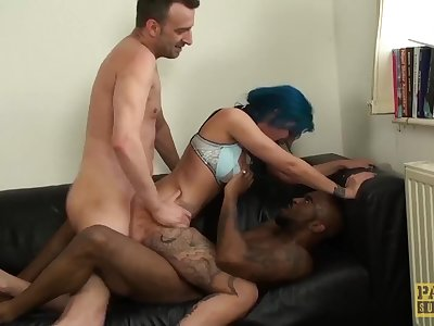 UK subslut gets rough interracial Double penetration